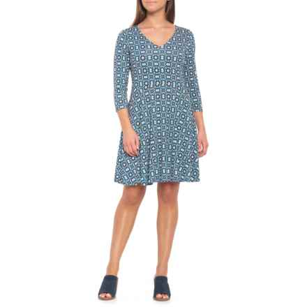 Cynthia Rowley V-Neck Skater Dress - Long Sleeve (For Women) in Isla Medallion/Blue Combo - Closeouts