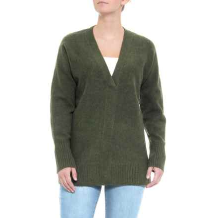 Cynthia Rowley V-Neck Sweater (For Women) in Dark Olive Heather - Closeouts
