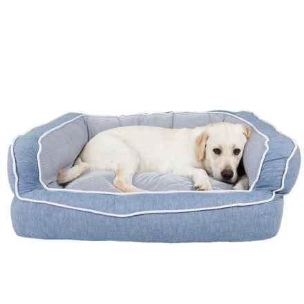 "Cynthia Rowley Wareham Chambray Bolster Dog Bed - XL, 36x27x12"" in Blue - Closeouts"
