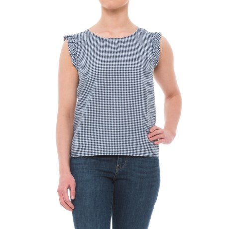 Cynthia Rowley Yarn-Dyed Gingham Linen Shirt - Scoop Neck, Sleeveless (For Women) in Navy With White