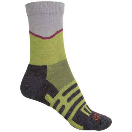 Dahlgren Half Pass Hiking Socks - Crew (For Women) in Lichen Green/Grey - Closeouts