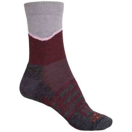 Dahlgren Half Pass Hiking Socks - Crew (For Women) in Wine/Charcoal Heather - Closeouts
