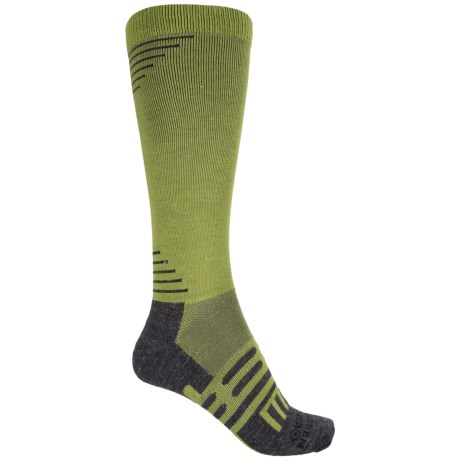 Dahlgren Multisport Compression Socks - Merino Wool-Alpaca, Over the Calf (For Men and Women) in Grasshopper Green/ Heather Grey