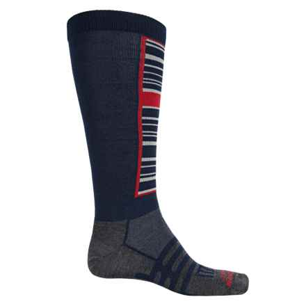 Dahlgren Sno Comp Ski Socks - Merino Wool-Alpaca, Over the Calf (For Men and Women) in Navy Stripe - Closeouts
