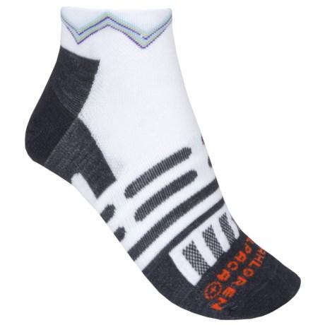 Dahlgren Ultralight Socks - Merino Wool-Alpaca, Below the Ankle (For Men and Women) in White W/Zig Zag Stripe