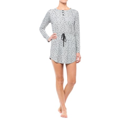 Daisy Fuentes Intimates Brushed Tunic Nightgown - Long Sleeve (For Women) in Starlet Black/Heather Grey