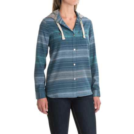 DaKine Brighton Hooded Flannel Shirt - Snap Front, Long Sleeve (For Women) in Indian Teal - Closeouts