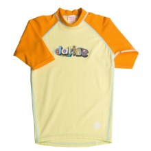 DaKine Colorful Rash Guard Shirt - UPF 40, 3/4 Sleeve (For Girls) in Yellow/Orange - Closeouts