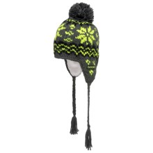 DaKine Mini Peruvian Beanie Hat - Fleece Lining, Ear Flaps (For Boys and Girls) in Charcoal - Closeouts