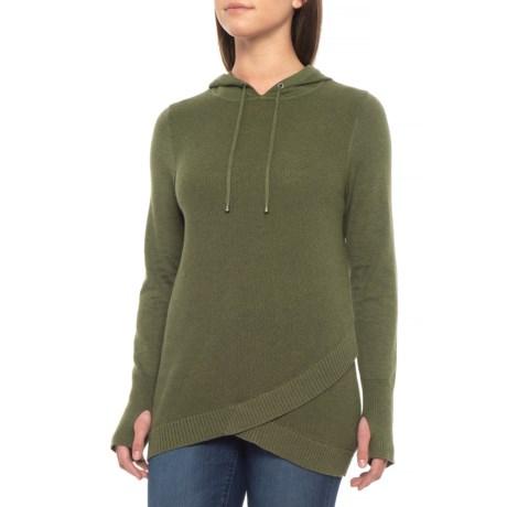 Dakini Crossover-Hem Sweater - Hooded (For Women) in Fir Green Heather
