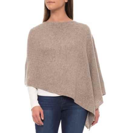 Dakini Fern Stitch Poncho - Merino-Cashmere Wool (For Women) in Stone - Closeouts