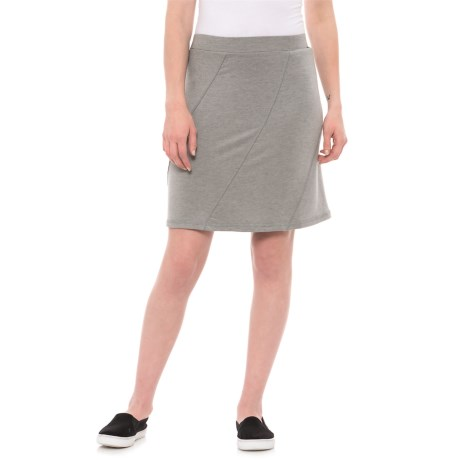 Dakini French Terry Seamed Skirt (For Women) in Heather Grey/Cream