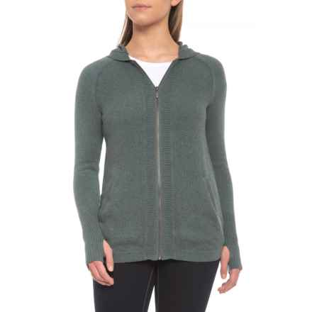 Dakini Hooded Cardigan Sweater - Full Zip (For Women) in Green Slate Heather - Closeouts