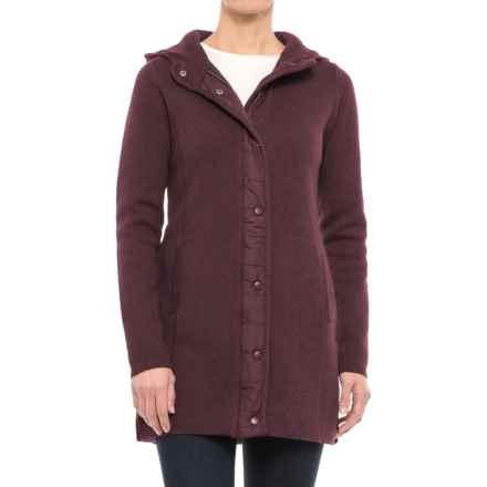 Dakini Nylon Backed Sweater Jacket (For Women) in Raisin Heather - Closeouts