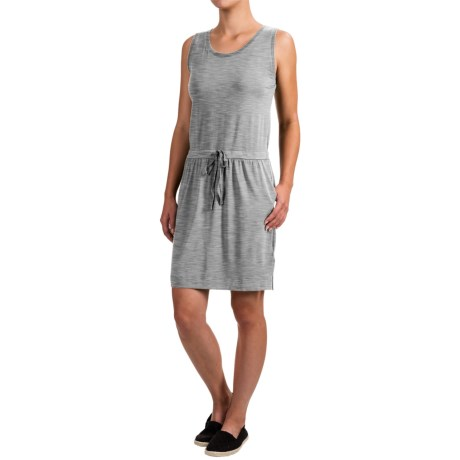 Dakini Solid Drawstring Tank Dress - Rayon, Sleeveless (For Women) in Light Heather Grey