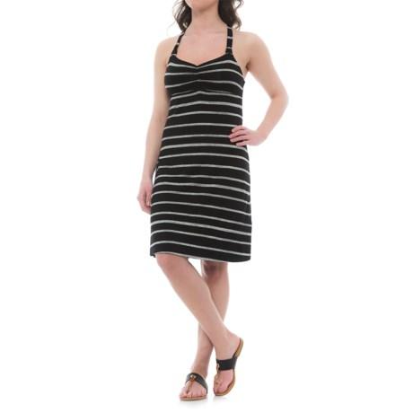 Dakini Yarn-Dyed Heather Cinch Strap Dress - Built-In Bra, Sleeveless (For Women) in Black/Grey