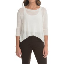 Dakota Collective Linen Knit Crop Sweater - 3/4 Sleeve (For Women) in Dirty White - Closeouts