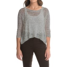Dakota Collective Linen Knit Crop Sweater - 3/4 Sleeve (For Women) in Grey - Closeouts