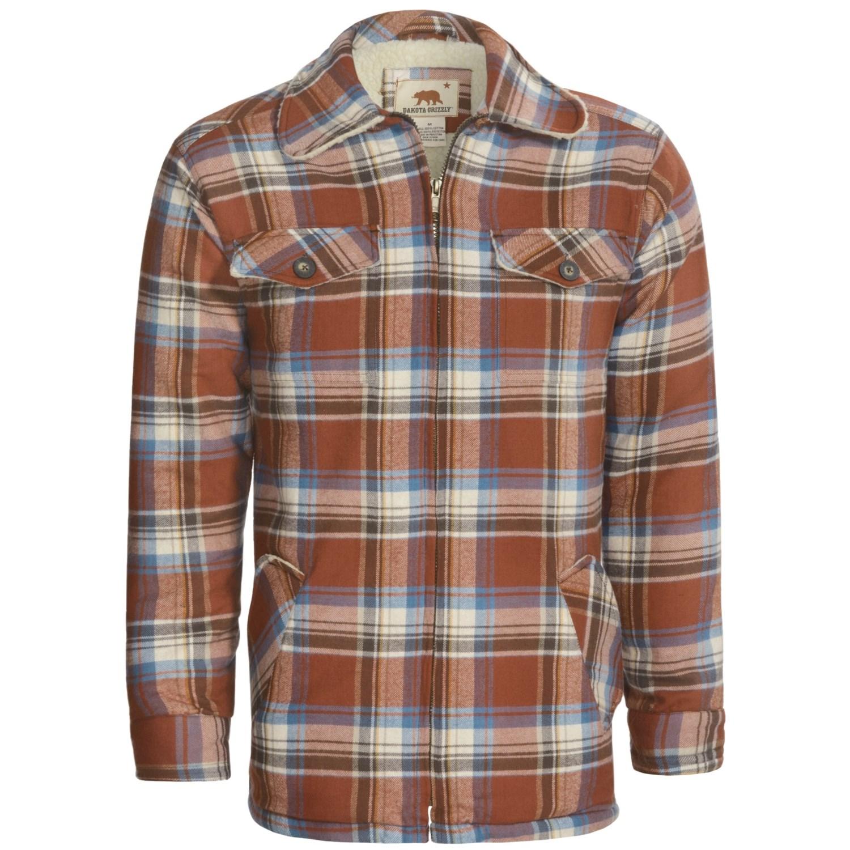 Dakota grizzly dustin flannel shirt sherpa lined long for Fleece lined flannel shirt