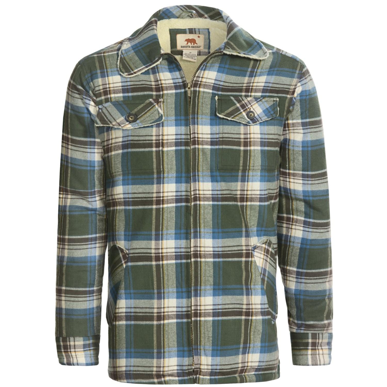 Dakota grizzly dustin flannel shirt sherpa lined long for Sherpa lined flannel shirt