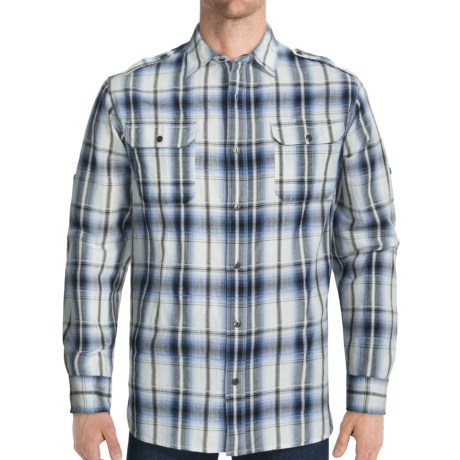 Dakota Grizzly Hogan Cotton Jacquard Shirt - Long Roll-Up Sleeve (For Men) in Indigo