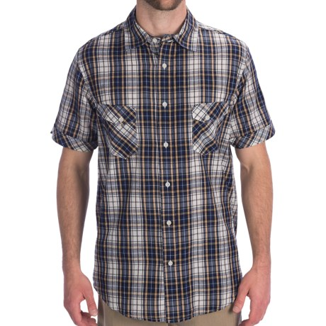 Dakota Grizzly Jake Cotton Plaid Shirt - Short Sleeve (For Men) in Navy