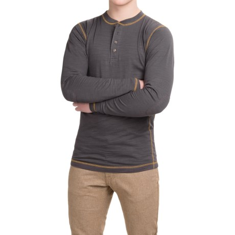 Dakota Grizzly Landon Slub Henley Shirt - Long Sleeve (For Men) in Granite
