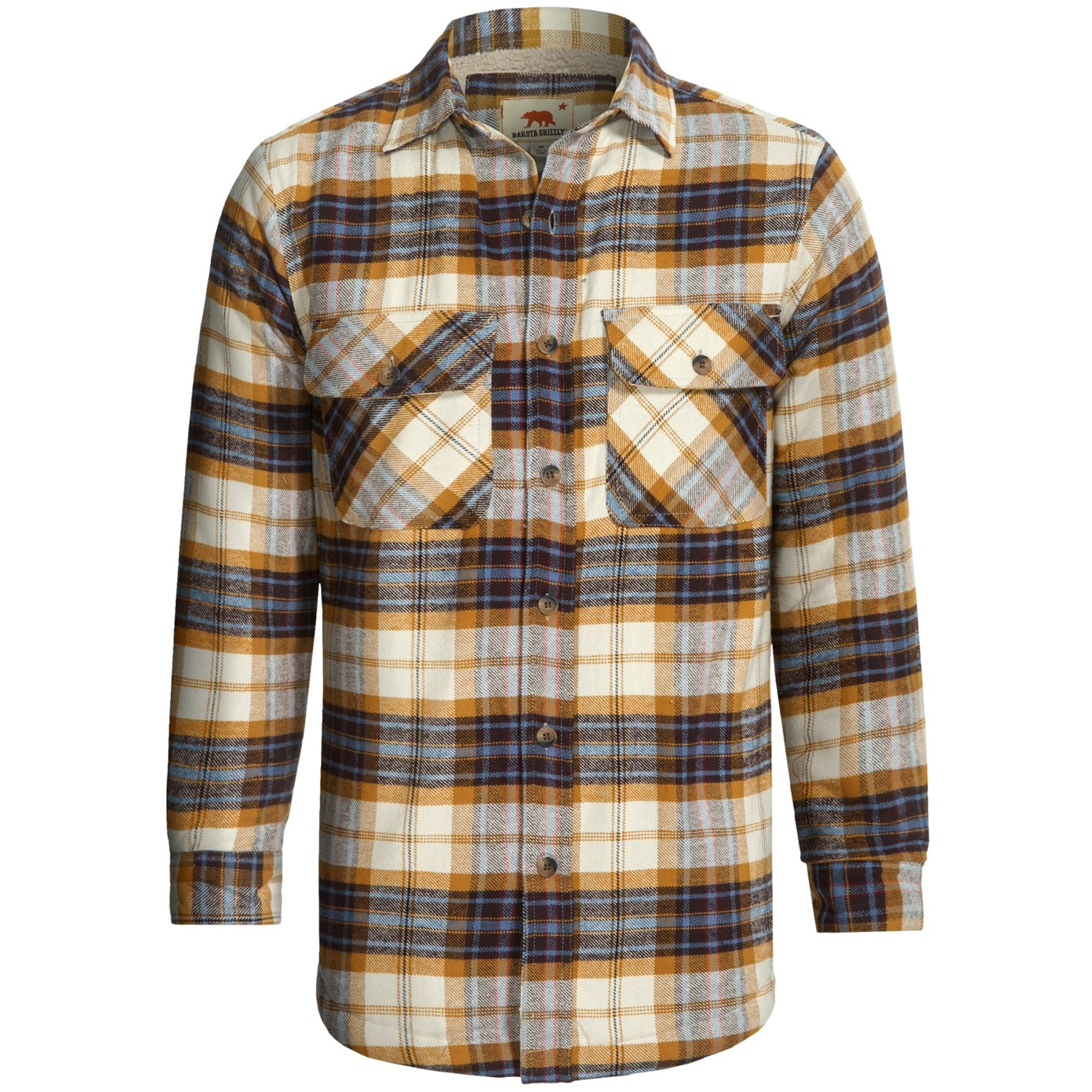 Dakota grizzly mack flannel shirt sherpa lined long for Sherpa lined plaid shirt