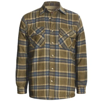 Dakota Grizzly Mack Flannel Shirt - Sherpa Lined, Long Sleeve (For Men) in Olive
