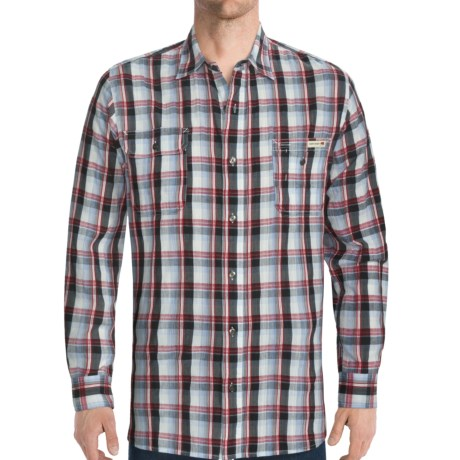 Dakota Grizzly Sinclair Vintage Cotton Jacquard Shirt - Long Roll-Up Sleeve (For Men) in Pacific