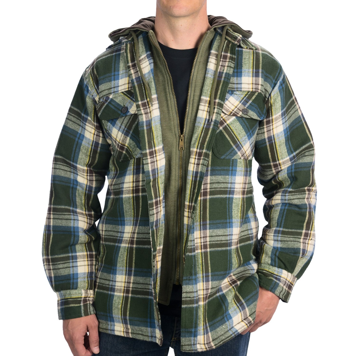 Dakota grizzly tioga hooded jacket flannel quilted for Men flannel shirt jacket with quilted lining