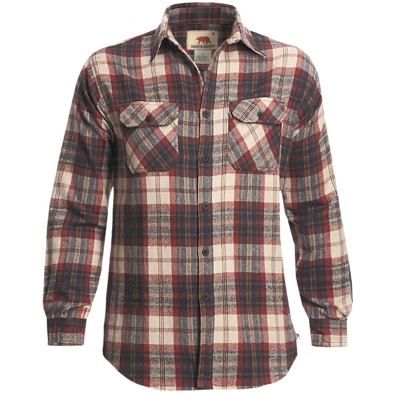 Dakota grizzly woodsman brawny flannel shirt long sleeve for Mens long sleeve flannel shirts