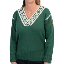 Dale of Norway Alpina Sweater - Norwegian Wool (For Women) in Bottle Green/Cream - Closeouts