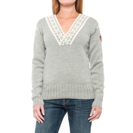 Dale of Norway Alpina Wool Sweater (For Women) in Light Charocal/Cream
