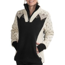 Dale of Norway Arktis Sweater - Merino Wool, Zip Neck (For Women) in Coffee/Mountainstone/Off White - Closeouts