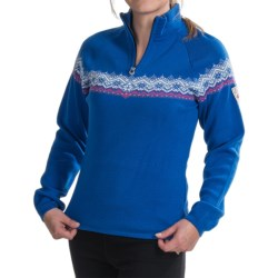 Dale of Norway Calgary Sweater - Merino Wool, Zip Neck (For Women) in Red/Black/Off White