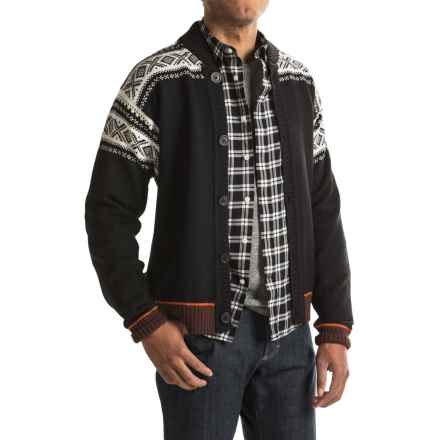 Dale of Norway Cortina Bomber Jacket - New Wool, Button Up (For Men) in Black/Off White/Sunset/Bitter Chocolate - Closeouts