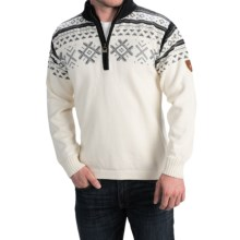Dale of Norway Dovre Sweater - Merino Wool, Zip Neck (For Men) in Off White/Smoke/Black - Closeouts