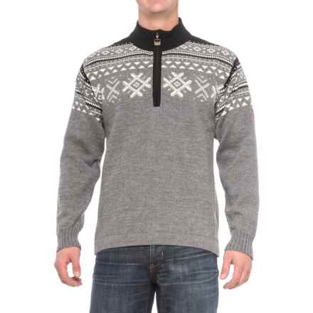 Dale of Norway Dovre Sweater - New Wool, Zip Neck (For Men) in Light Grey - Closeouts