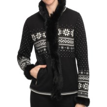 Dale of Norway Dronningen Sweater Jacket - Merino Wool, Rabbit Fur Trim (For Women) in Black/Off White/Metal Grey - Closeouts