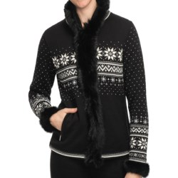 Dale of Norway Dronningen Sweater Jacket - Merino Wool, Rabbit Fur Trim (For Women) in Black/Off White/Metal Grey
