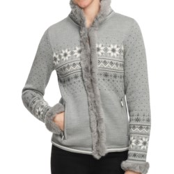 Dale of Norway Dronningen Sweater Jacket - Merino Wool, Rabbit Fur Trim (For Women) in Off White/Metal Grey