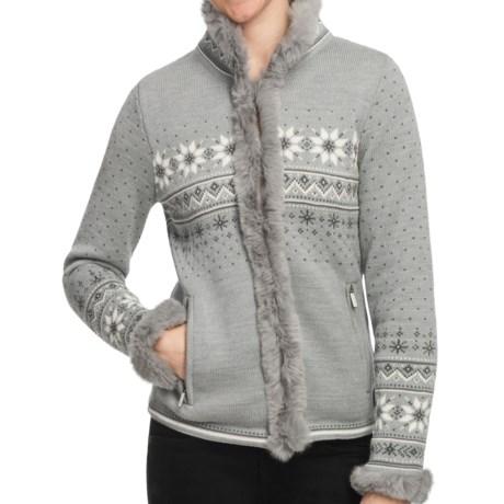Dale of Norway Dronningen Sweater Jacket - Merino Wool, Rabbit Fur Trim (For Women) in Metal Grey/Off White