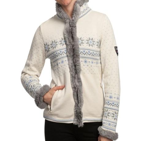 Dale of Norway Dronningen Sweater Jacket - Merino Wool, Rabbit Fur Trim (For Women) in Off White/Metal Grey