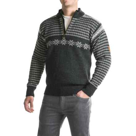 Dale of Norway Fisketorget Sweater - New Wool, Zip Neck (For Men) in Dark Charcoal/Smoke/Light Charcoal - Closeouts