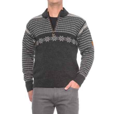 Dale of Norway Fisketorget Sweater - New Wool, Zip Neck (For Men) in Light Grey - Closeouts