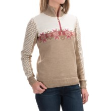 Dale of Norway Fjell Sweater - Merino Wool, Zip Neck (For Women) in Beige/Off White - Closeouts