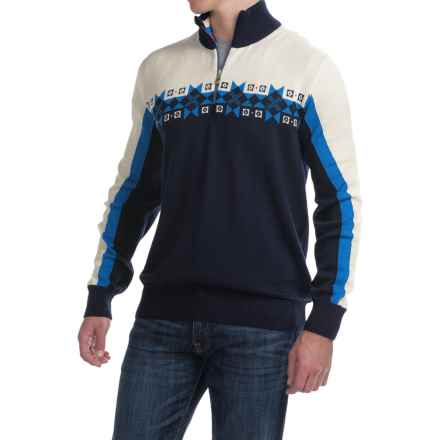 Dale of Norway Fjell Wool Sweater - Zip Neck (For Men) in Blue/White - Closeouts