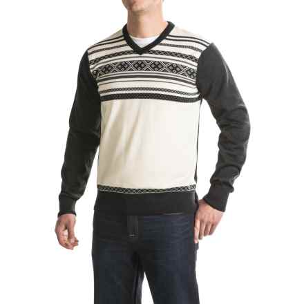 Dale of Norway Haakon Sweater - Merino Wool (For Men) in Off White/Dark Charcoal - Closeouts