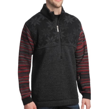 Dale of Norway Isfjorden Sweater (For Men) in Dark Charcoal/ Black/Redrose